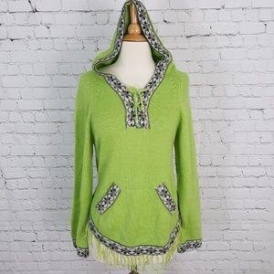 ECO ALPACA Peruvian Hooded Sweater S/M Green soft